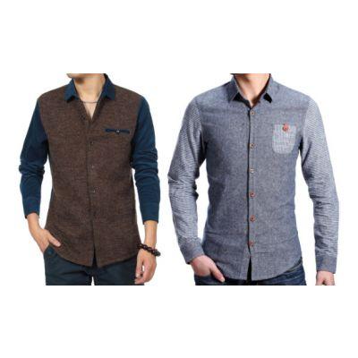 Lot de 2 chemises hiver Velours et Chambray Taille XS
