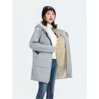 Manteau à capuche mi-long pour femme avec fourrure intérieure