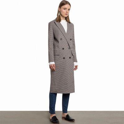 Manteau à carreaux double boutonnage pour femme pardessus classique