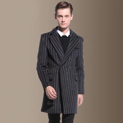 Manteau à rayures en laine pour homme hiver classique