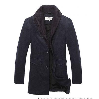 Manteau Blazer pour Homme en Laine avec Bordure Col Interieur Tricot