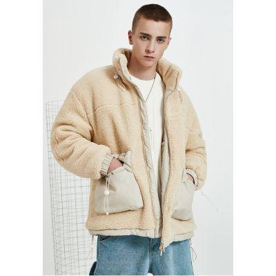 Manteau chaud imiation peau de mouton avec poches fonctionnelles
