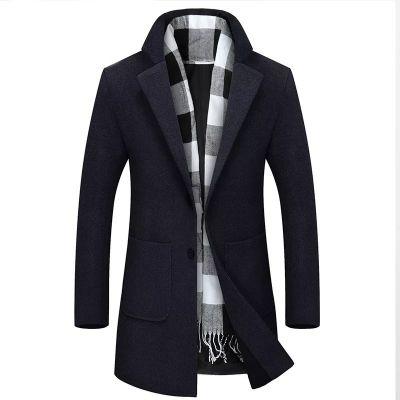 Manteau cintré mi-long classique hiver pour homme en nylon