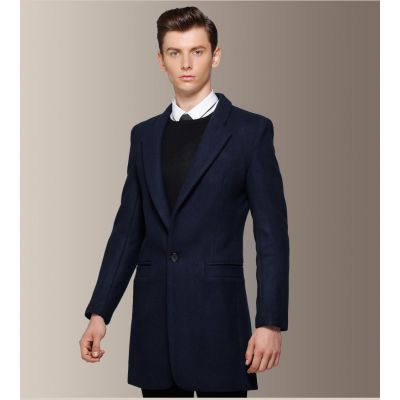 Manteau classique en laine pour homme avec ouverture col large