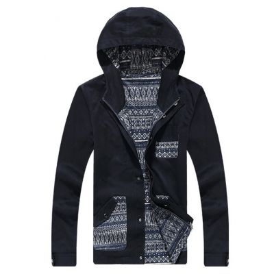 Manteau Coupe Vent pour Homme Reversible Poches à Motifs