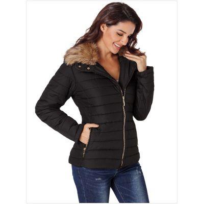 Manteau d'hiver en fourrure synthétique pour femme coupe slim