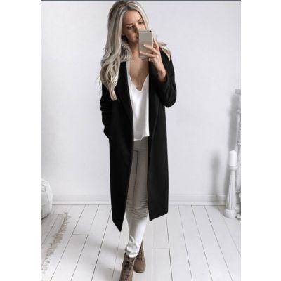 Manteau pour femme longueur genou en laine col à revers sans boutonnage