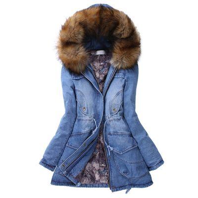 Manteau en jeans denim épais avec capuche à fausse fourrure pour femme