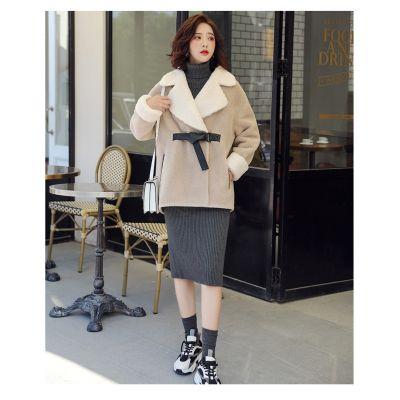 Manteau pour femme avec col revers imitation peau de mouton