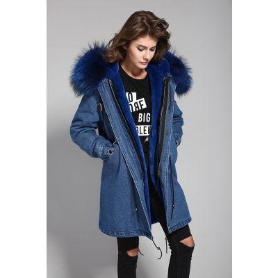 Manteau en jeans hiver pour femme avec capuche à fourrure