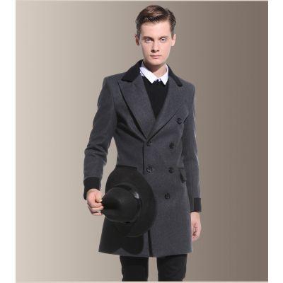 Manteau en laine mi-long pour homme avec accents contrastants