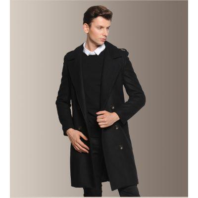 Manteau en laine pour homme classique vintage avec épaulières