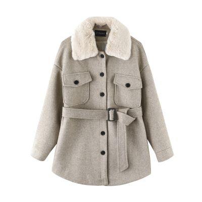 Manteau en mélange de laine pour femme avec ceinture