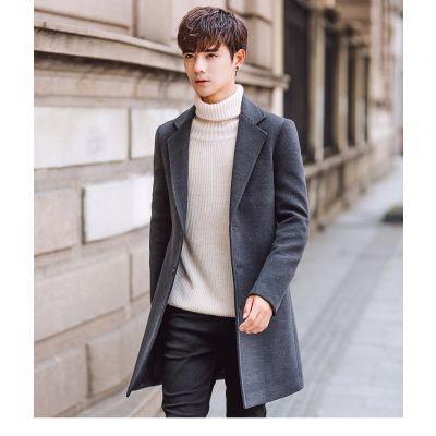 Manteau épais long pour homme coupe slim avec boutons