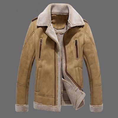 Manteau fourré mi-long pour homme en cuir vintage classique