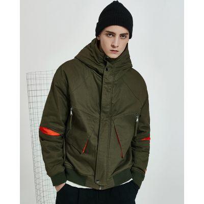 Manteau hiver en coton avec poches pour hommes à capuche couleur contraste