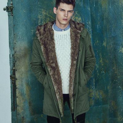 Manteau hiver homme avec doublure fourrure intérieure et cordon ceinture