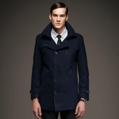 Manteau hiver homme double boutonnage col haut
