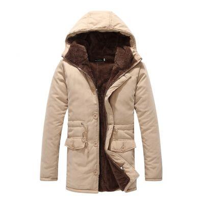 Manteau hiver intérieur fourrure épaisse pour homme avec capuche et cordon ceinture