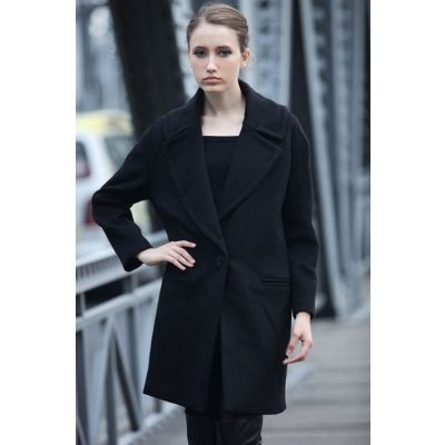 Manteau Hiver Long pour Femme avec Bouton Unique et Col Large