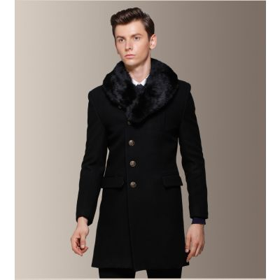 Manteau hiver long pour homme avec fourrure col 60% laine