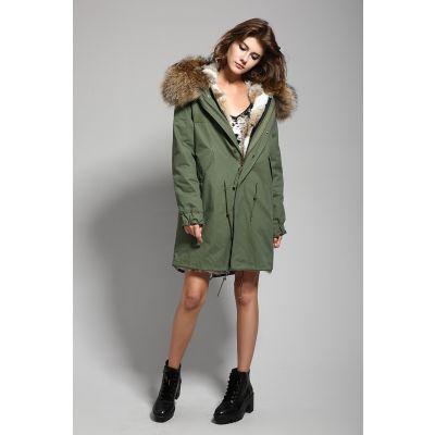 Manteau hiver mi-long pour femme avec fourrure intérieur et capuche amovible