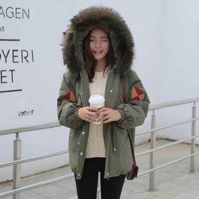 Manteau hiver pour femme avec broderie géométrique et capuche fourrure