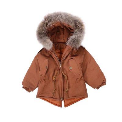 Manteau hiver pour garçon avec capuche fourrure et cordon ceinture