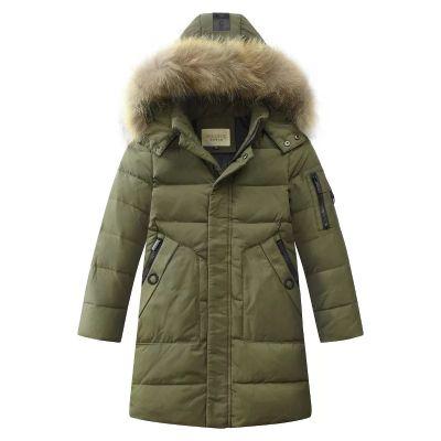 Manteau hiver pour garçon avec fourrure capuche et zip manche