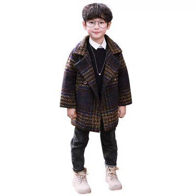 Manteau hiver pour garçon en laine à carreaux col large