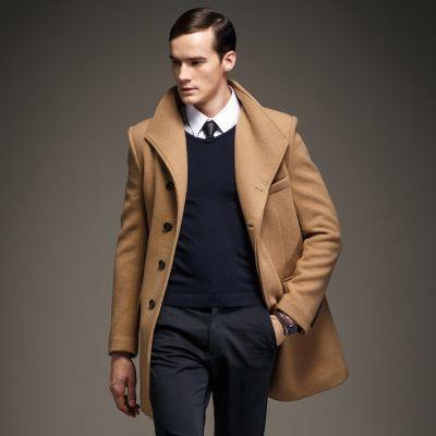 Manteau homme en laine avec boutonnage dissimulé