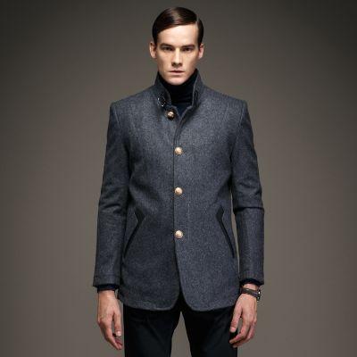 Manteau laine homme cintré avec boutons dorées col