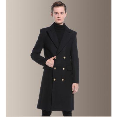 Manteau laine long cintré pour homme avec double boutonnage