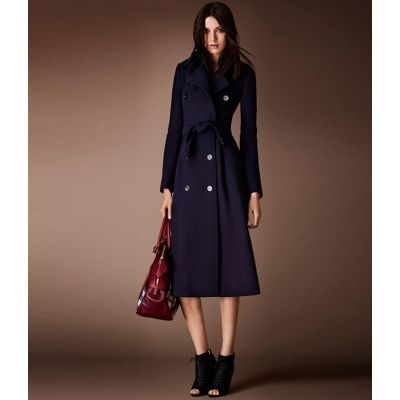 Manteau laine long pour femme double boutonnage avec ceinture