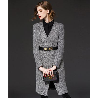 Manteau laine pour femme gris poivre et sel avec ceinture