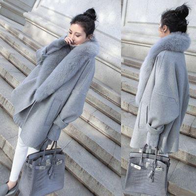 Manteau large chic pour femme avec bordure fourrure autour du col