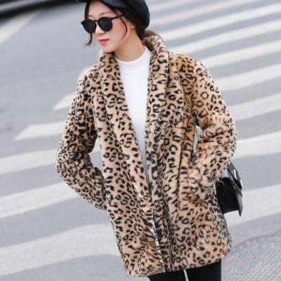 Manteau léopard fourrure synthétique pour femme tendance hiver