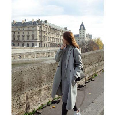 Manteau long classique pour femme avec bouton unique gris