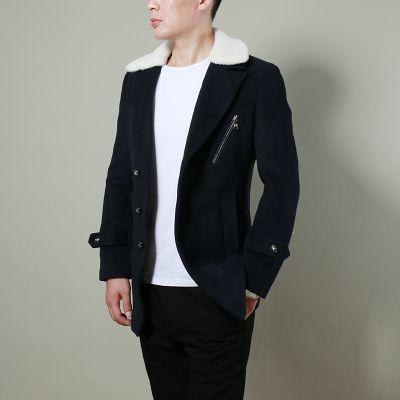 Manteau Mi-Long Classique pour Homme avec Col Fourrure