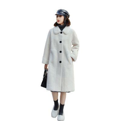Manteau long d'hiver en fausse fourrure et laine d'agneau pour femme