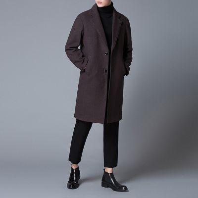 Manteau long en laine pour homme avec revers à encoche