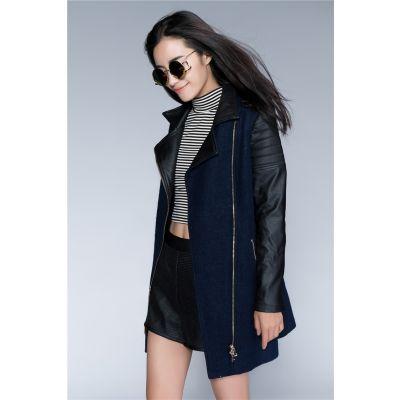 Manteau Long Manches Cuir pour Femme Perfecto Bimatière