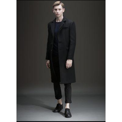 Manteau long pardessus en laine pour homme avec deux boutons