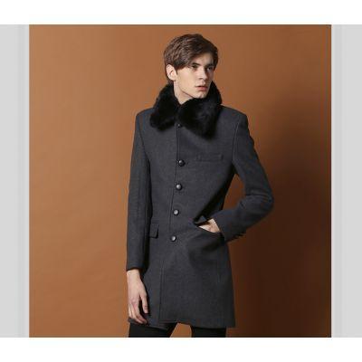 Manteau Long pour Homme avec Col Fourrure