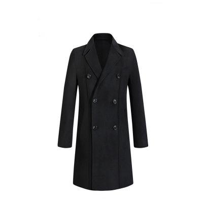 Manteau long à double boutonnage avec intérieur et extérieur en laine pour homme