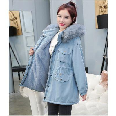 Manteau mi-long avec capuche et intérieure fausse fourrure pour femme
