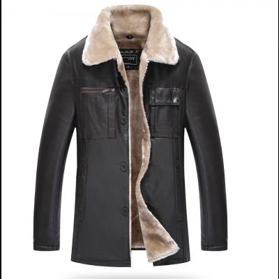 Manteau mi-long en cuir pour homme avec intérieur fourrure hiver et poches