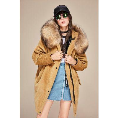 Manteau mi-long en velours côtelé pour femme capuche fourrure