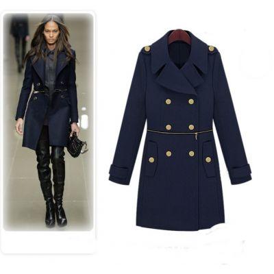 Manteau Officier Long pour Femme avec Fermeture Eclaire Zip Centrale