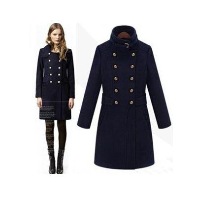 Manteau Officier long pour femme en laine avec double boutonnage